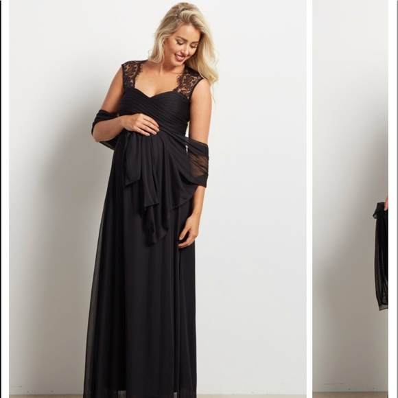 Pinkblush Dresses Black Lace Accent Chiffon Maternity Evening Gown
